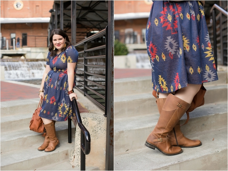 LulaRoe Aztec Amelia dress, Duo boots, Lily Jade bag, Nickel and Suede earrings, Fall, Maternity, Fashion (5)
