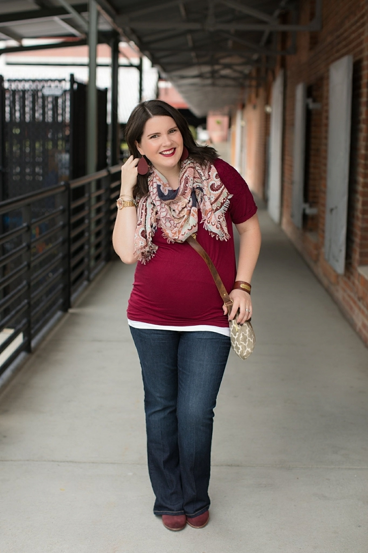 Maternity flare jeans, booties, JOYN bag, scarf, Nickel and Suede marsala earrings, maternity fashion, style (9)