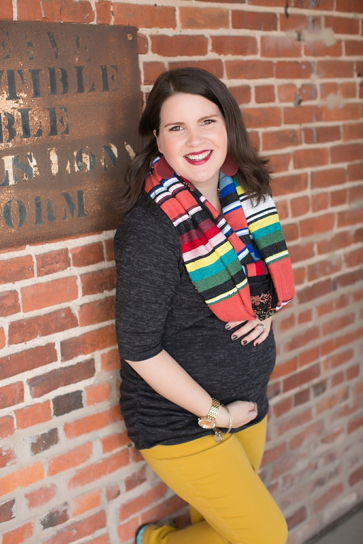 mustard denim, Root Collective flats, Stitch Fix liverpool knit top, Just Dawnelle serape scarf, Nickel and Suede Marsala earrings, maternity fashion (7)