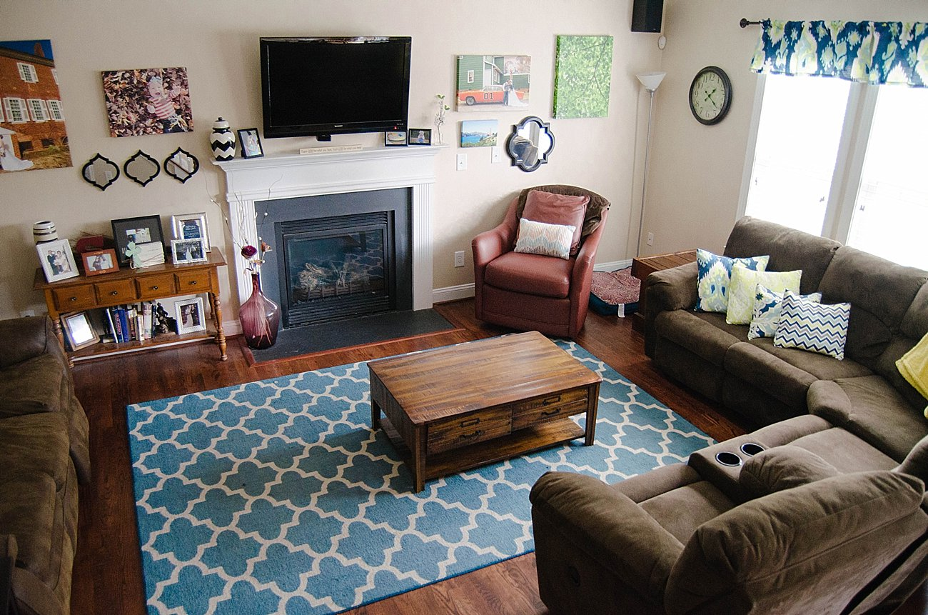 brown living room with blue accents grey and yellow colour scheme home decor our updated tour still being molly