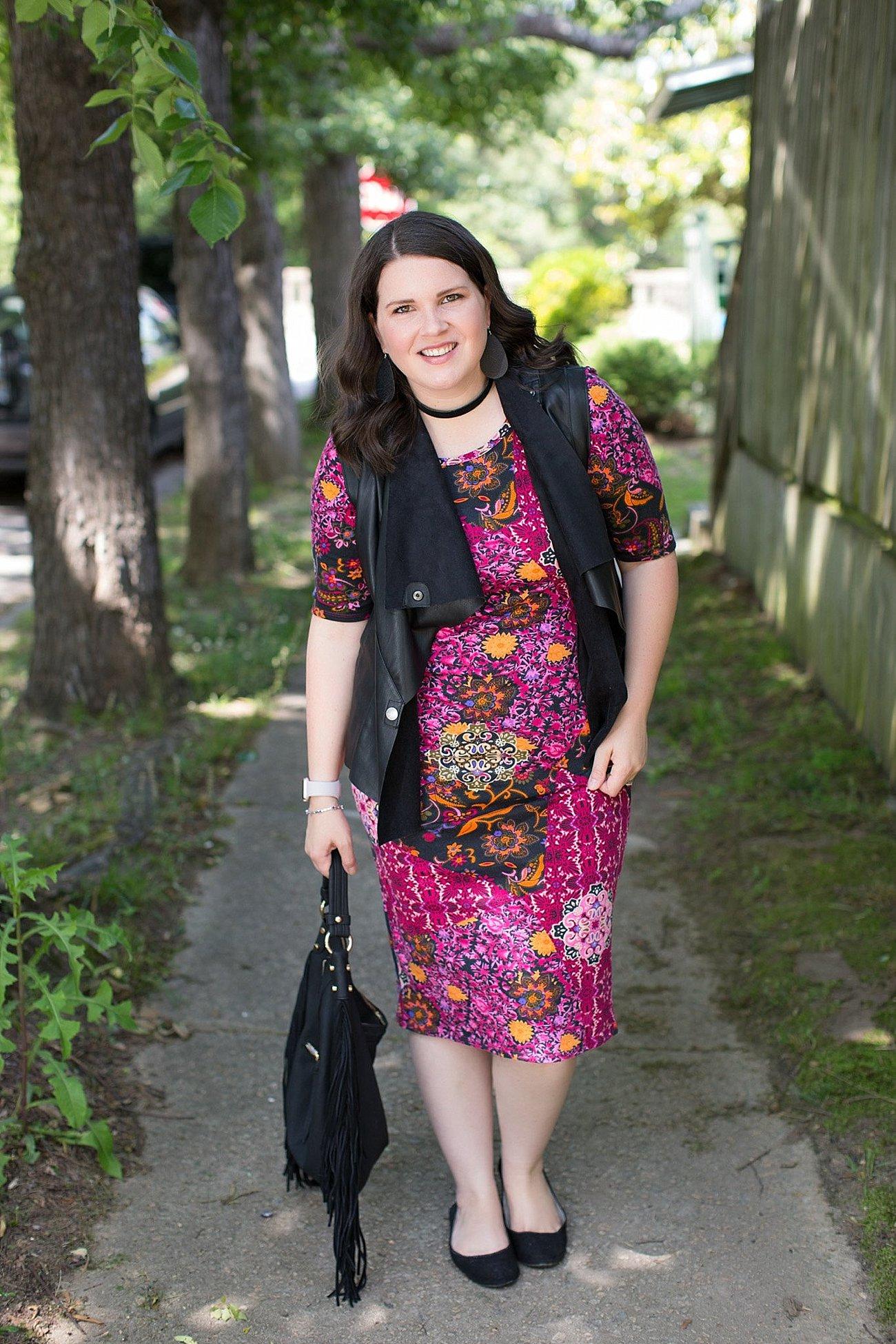 LulaRoe Julia Dress, Stitch Fix Kut From the Kloth Leather Vest, Nickel & Suede Earrings, Nickel & Suede Choker   North Carolina Fashion & Style Blogger (2)