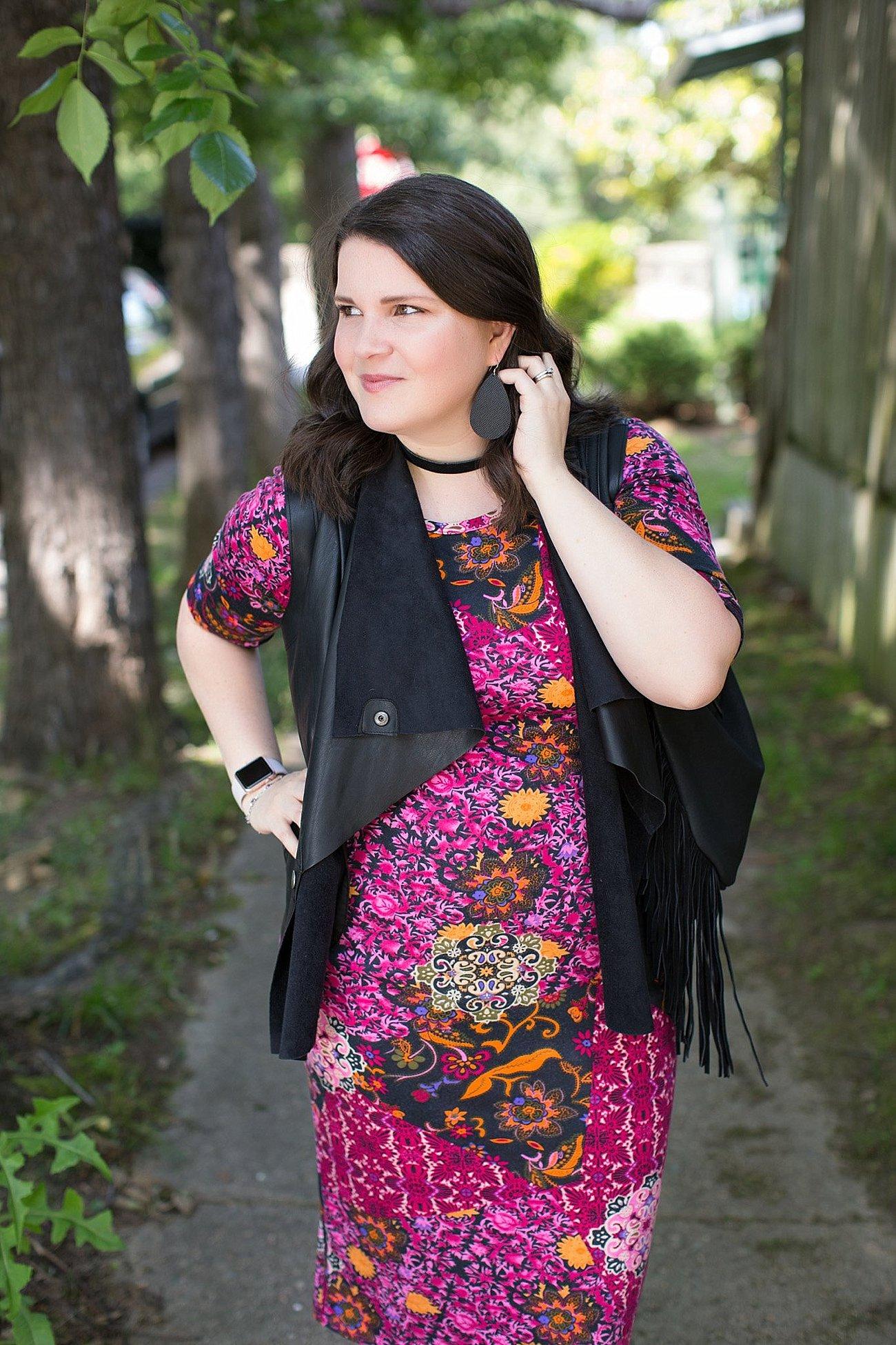 LulaRoe Julia Dress, Stitch Fix Kut From the Kloth Leather Vest, Nickel & Suede Earrings, Nickel & Suede Choker   North Carolina Fashion & Style Blogger (6)