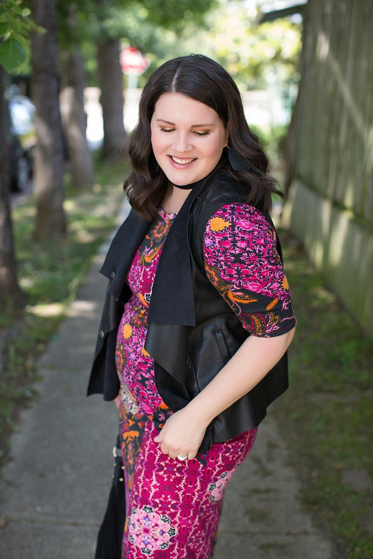 LulaRoe Julia Dress, Stitch Fix Kut From the Kloth Leather Vest, Nickel & Suede Earrings, Nickel & Suede Choker   North Carolina Fashion & Style Blogger (8)
