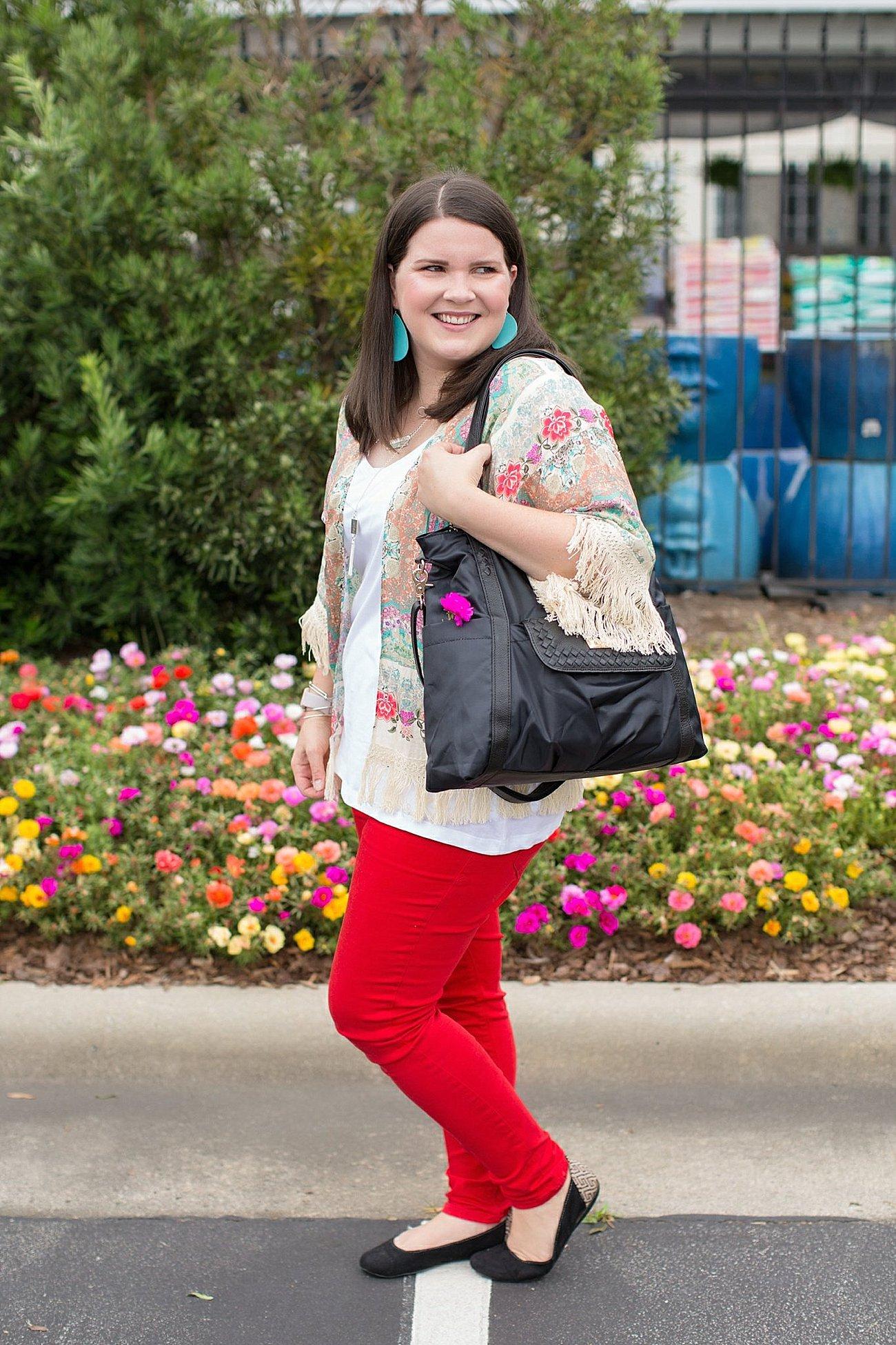 "Grace & Lace kimono, PACT apparel v-neck tee, Stitch Fix ""Kensie"" red jeans, Lily Jade diaper bag | North Carolina Fashion Blogger (2)"