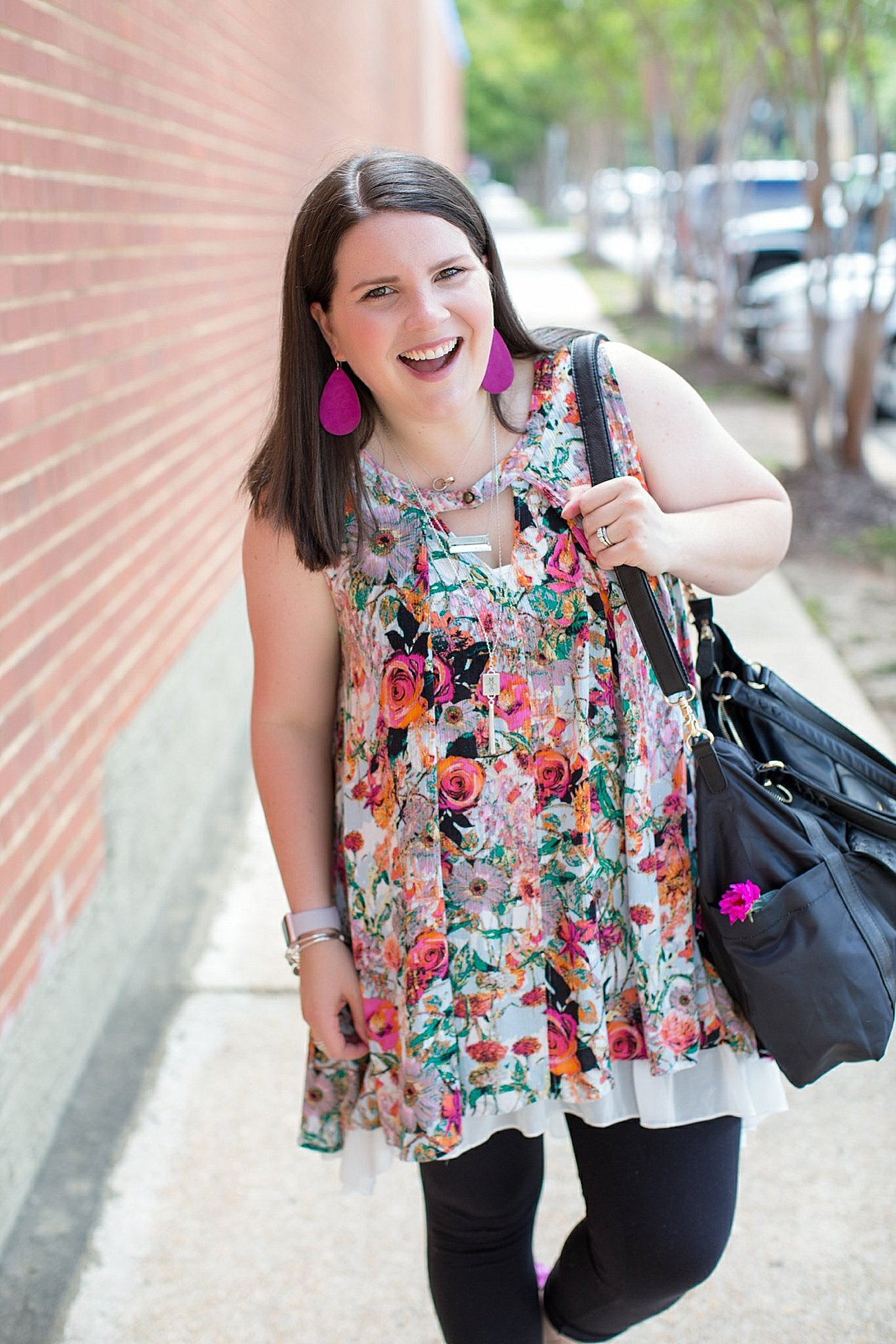 """Grace & Lace floral tunic, chiffon lace extender, LulaRoe black leggings, Lily Jade diaper bag, Nickel and Suede earrings, The Root Collective """"Millie"""" smoking shoes   North Carolina Fashion Blogger (9)"""