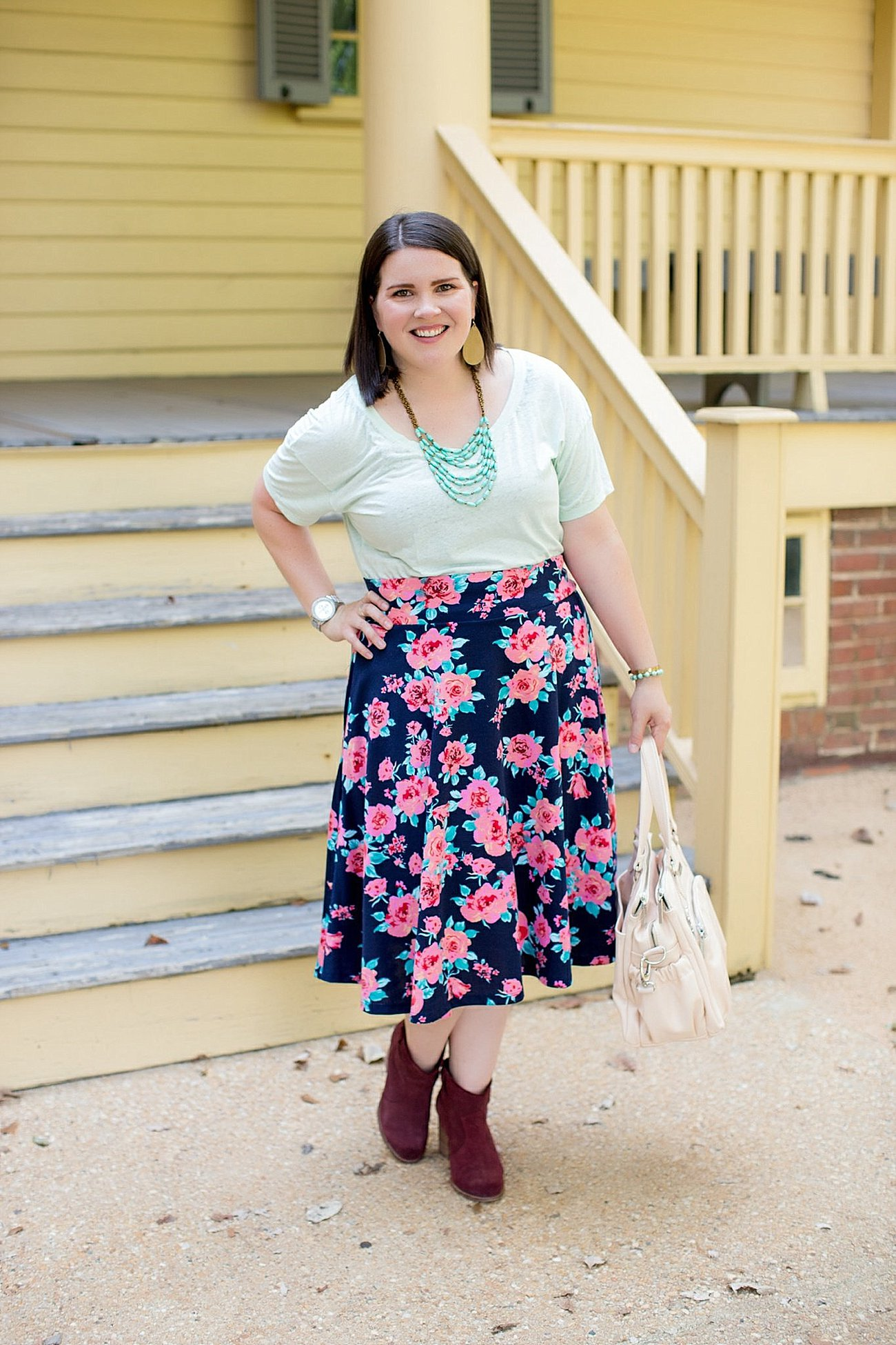 Threads for Thought tee, Agnes & Dora floral midi skirt, Booties, Kalencom diaper bag (12)
