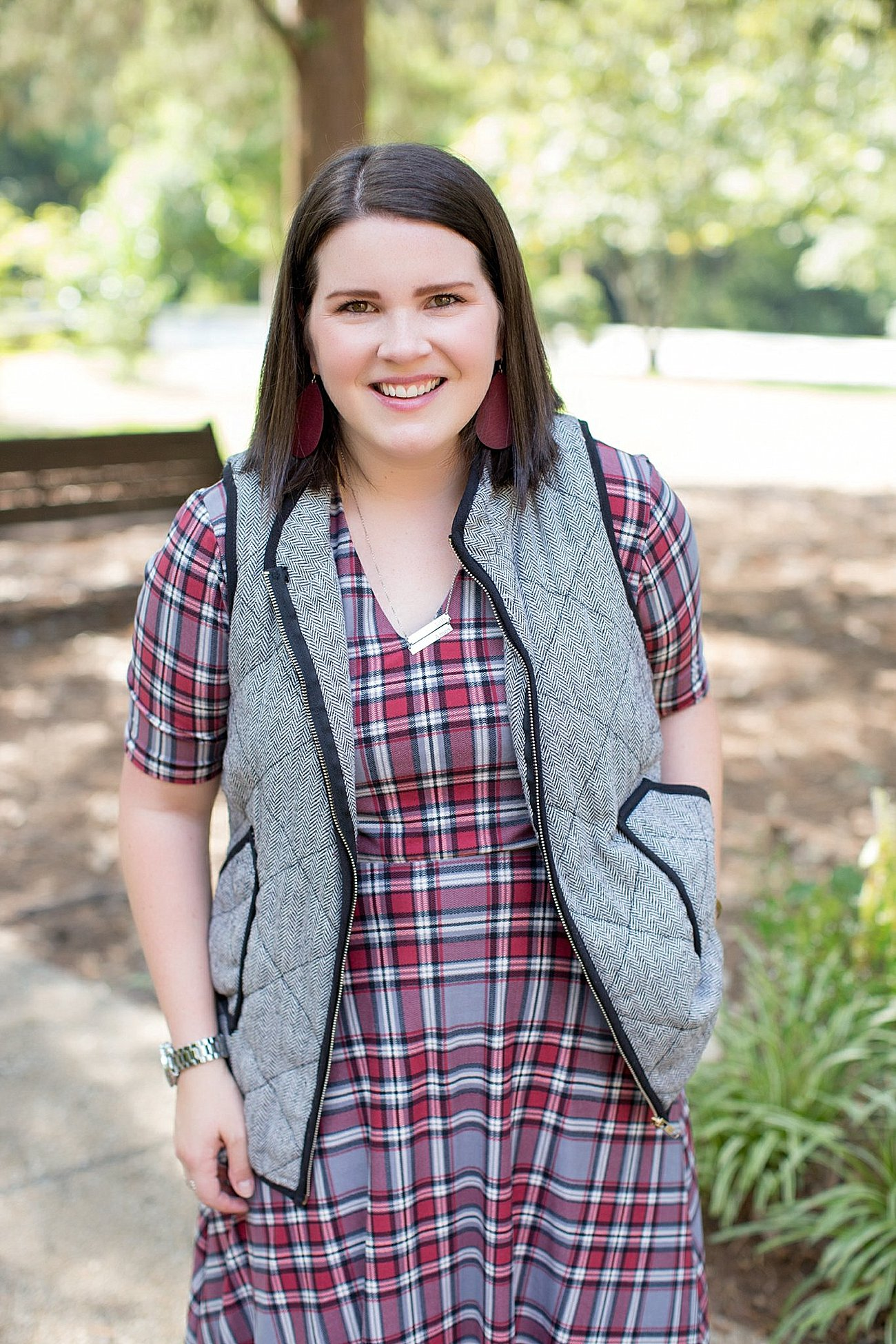 Agnes & Dora plaid Austen dress, herringbone vest, fall fashion, ethical fall fashion | North Carolina life and style blogger (6)