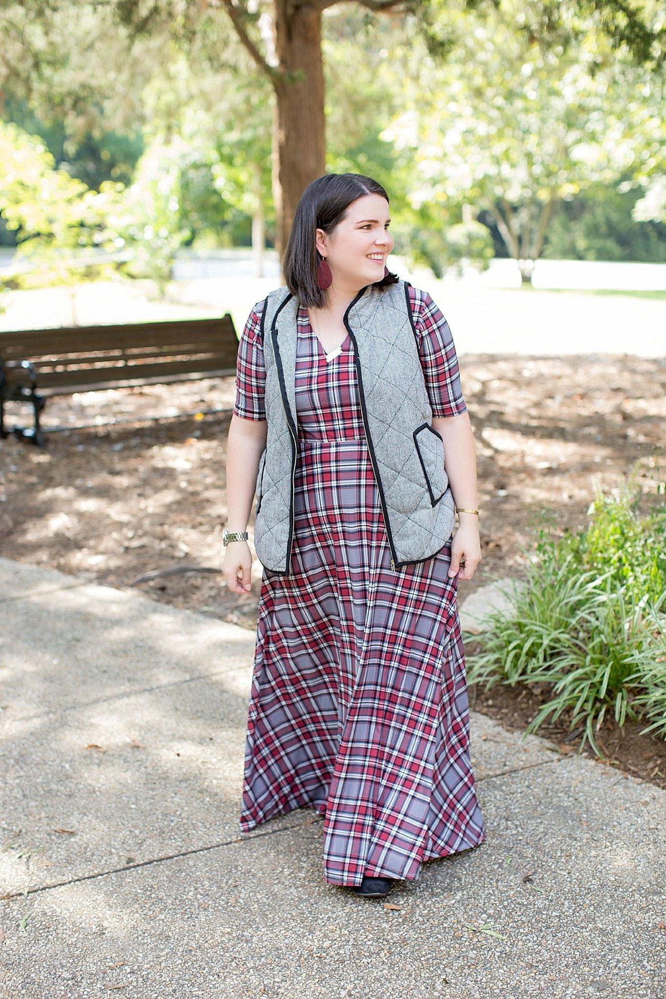 Agnes & Dora plaid Austen dress, herringbone vest, fall fashion, ethical fall fashion | North Carolina life and style blogger (8)