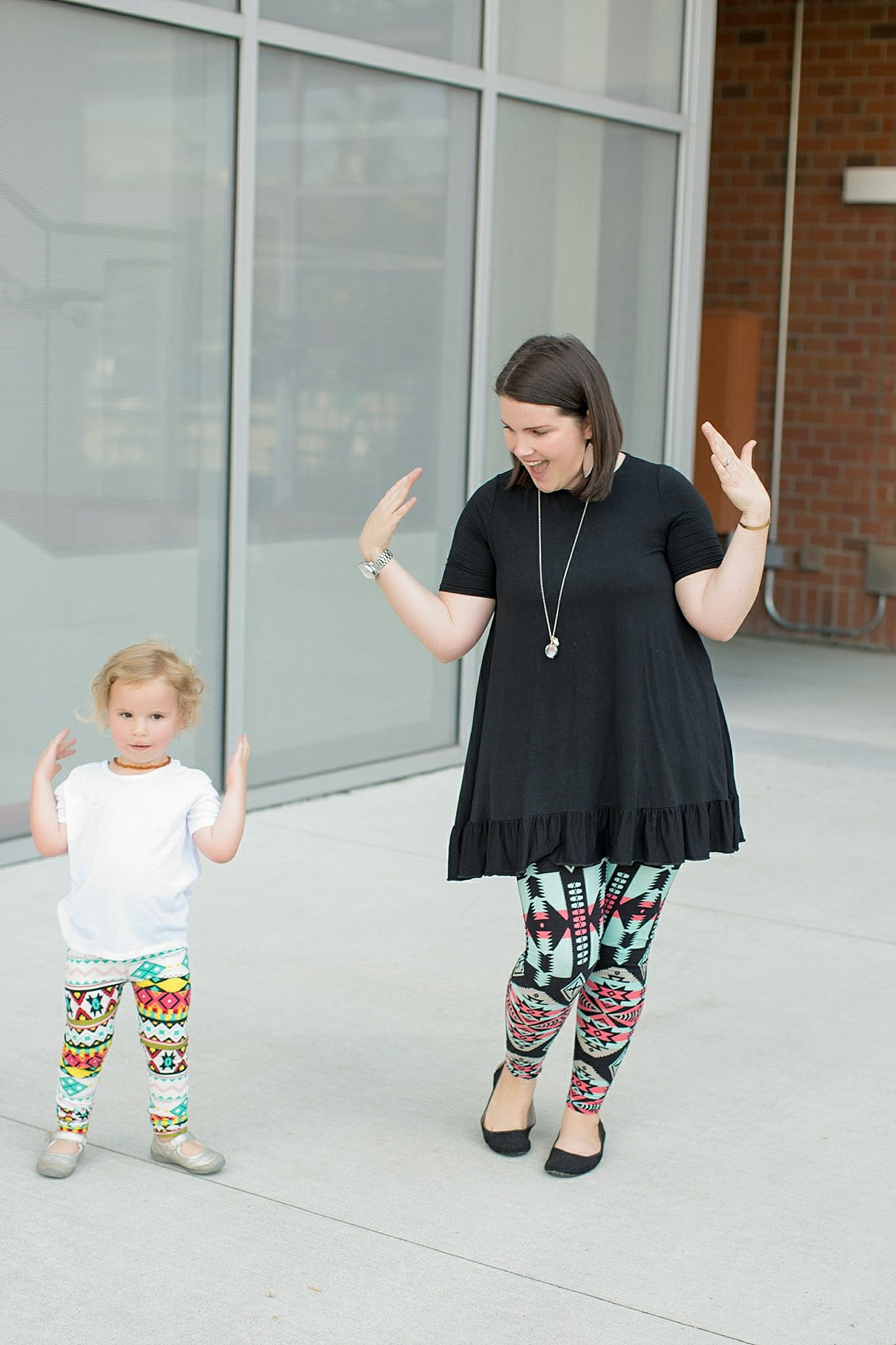 Agnes & Dora black ruffle tunic, Agnes & Dora matching mommy and me leggings (4)