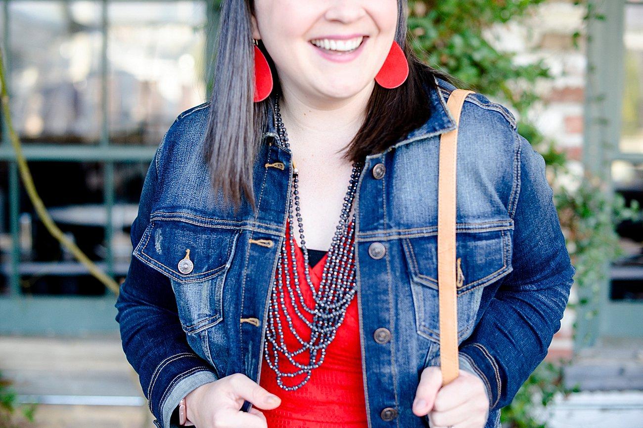 Stitch Fix Just USA Denim Jacket & Stitch Fix Avelene Textured Knit Dress