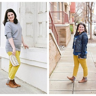 4 Ways to Wear Mustard Yellow Jeans