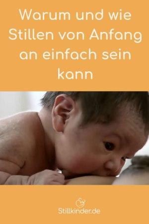 Ein Neugeborenes findet die Brust ohne Hilfe