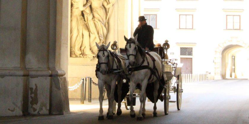 Carriage riding through entrance