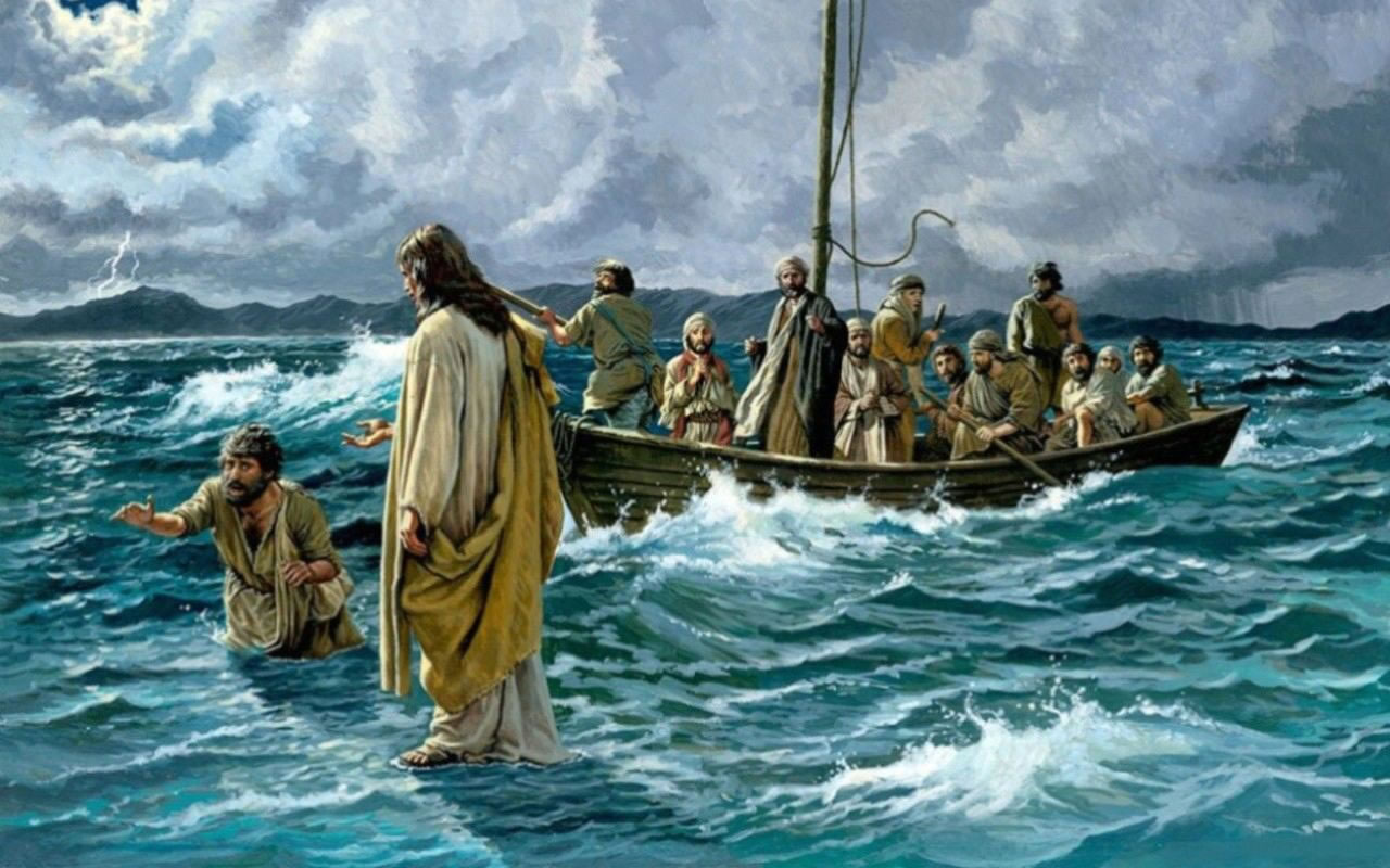 Image result for Jesus walks on the sea of Galilee pictures