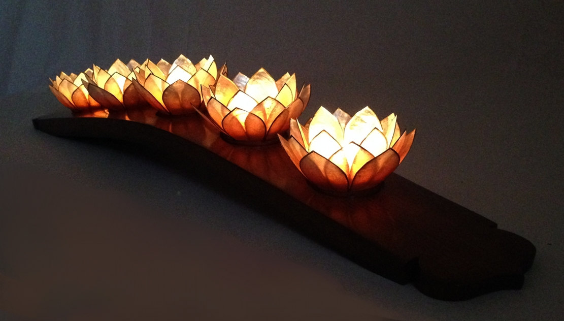 Lotus candleholder recycled oak wine barrel stave 5 Capiz shell tea lights holders choose
