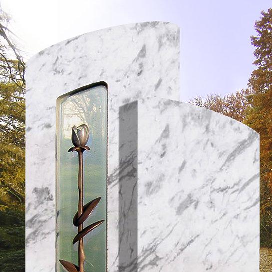 Moderner Urnengrab Grabstein Rose  StilvolleGrabsteinede