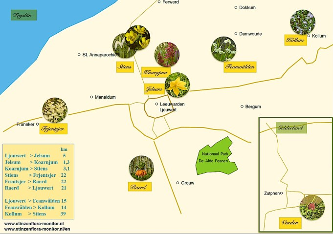 Route map Stinzenflora-monitor. Click on the image to enlarge.