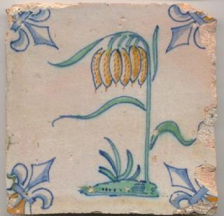 Tegel met Kievitsbloem met 4 bloemen bovenaan aan de stengel.