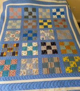 Classic Nine Patch made by Jeannie with a friend's Mom's quilt squares.