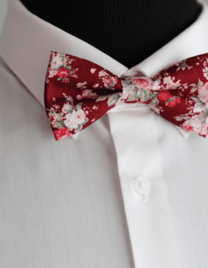 Burgundy and Rose Floral Bow Tie Cape Town Grooms Accessories