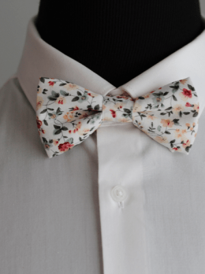Green and Burgundy Floral Bow Tie