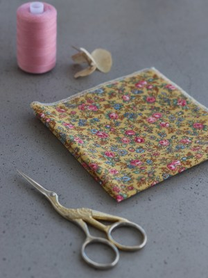 Mustard Pink Floral Pocket Square Stitched New Zealand