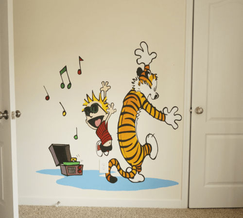 Nursery in Progress Calvin and Hobbes Mural stitches press
