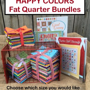 Happy Colors 18 24 36 Fat Quarter Bundle for Lori Holt of Bee In My Bonnet Books Farm Girl Vintage Quilty Fun Book