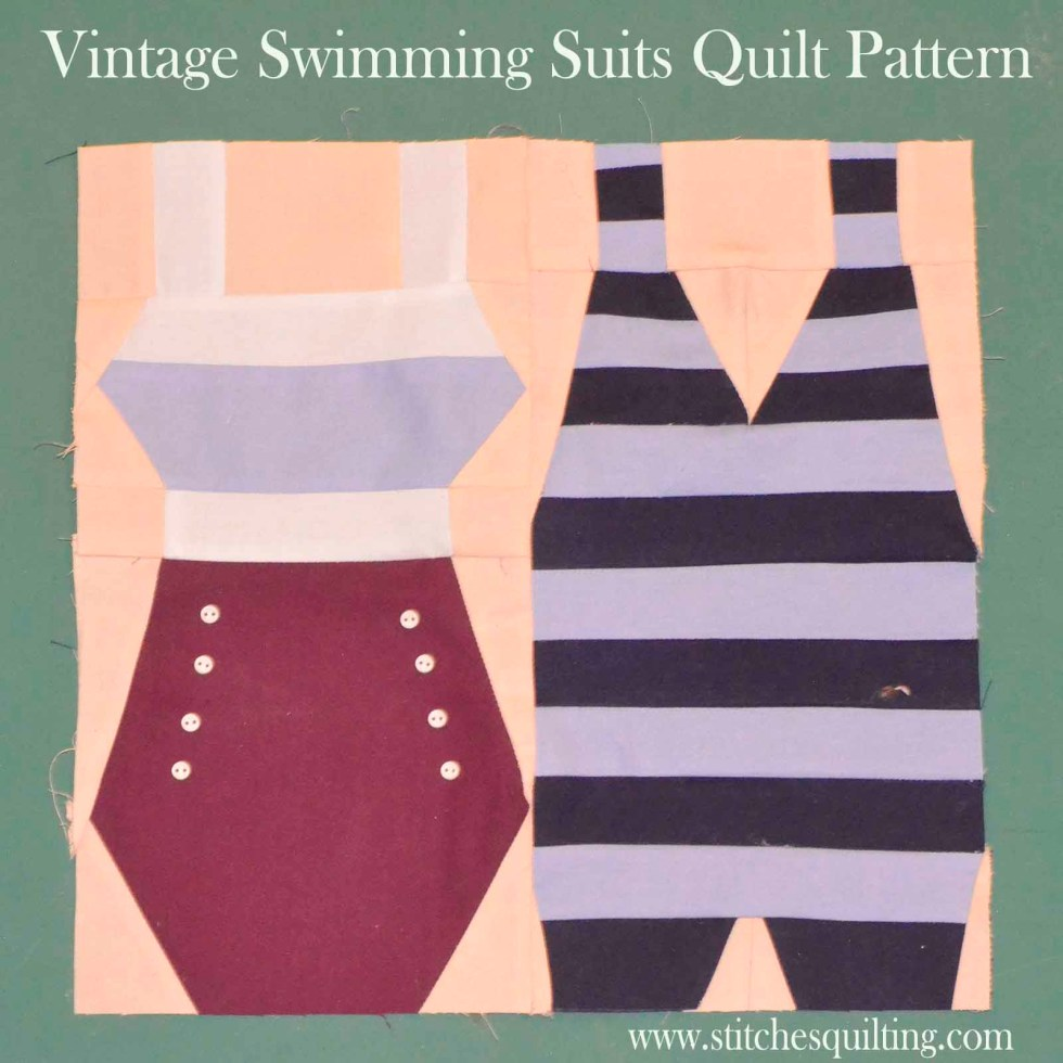 Quilt Block Vintage Swimming Men & Womens Suits Attached together
