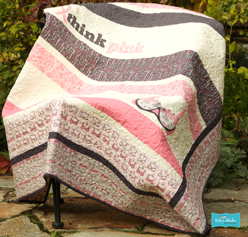Gray Think Pink Bras Fabric Riley Blake C3703 Stitches