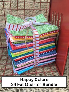Happy Colors 24 Fat Quarter Bundle for Lori of Bee In My Bonnet Books Farm Girl Vintage Quilty Fun