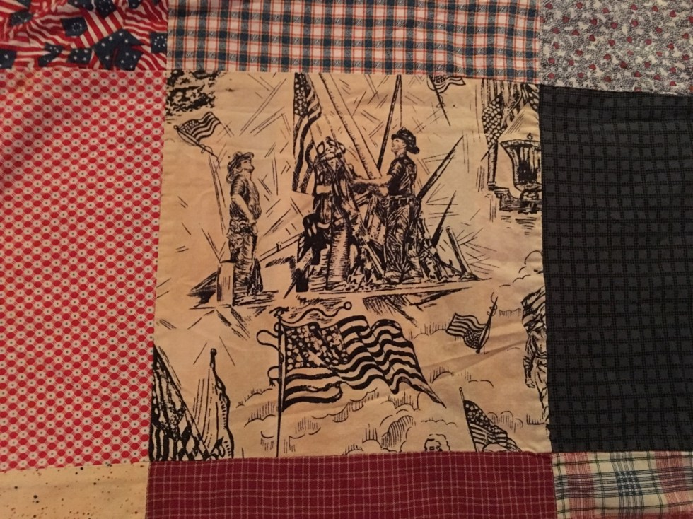 911 Patriotic Fabric with Firemen