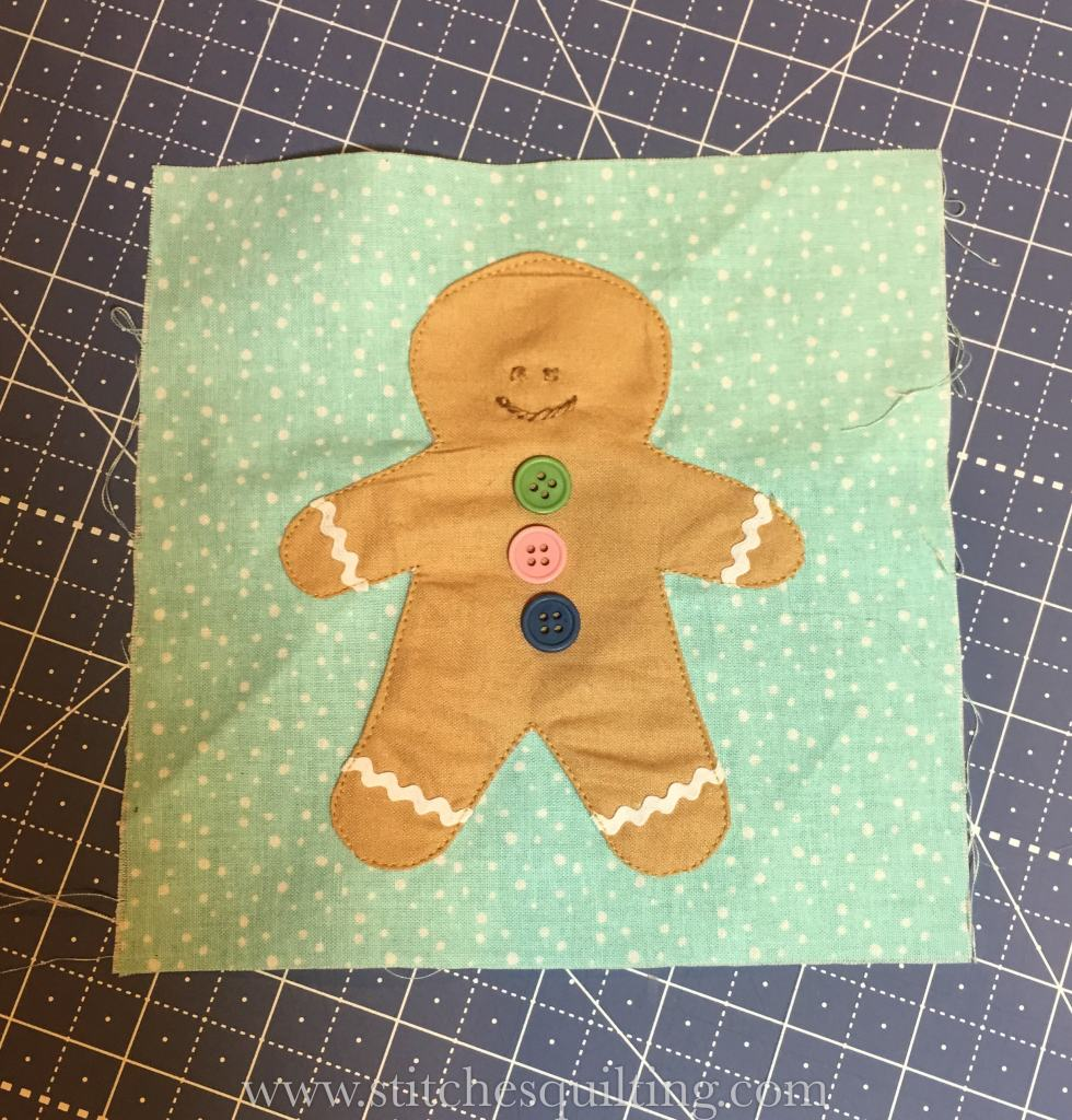 Cozy Christmas Gingerbread Man Background Fabric Ready to be squared up