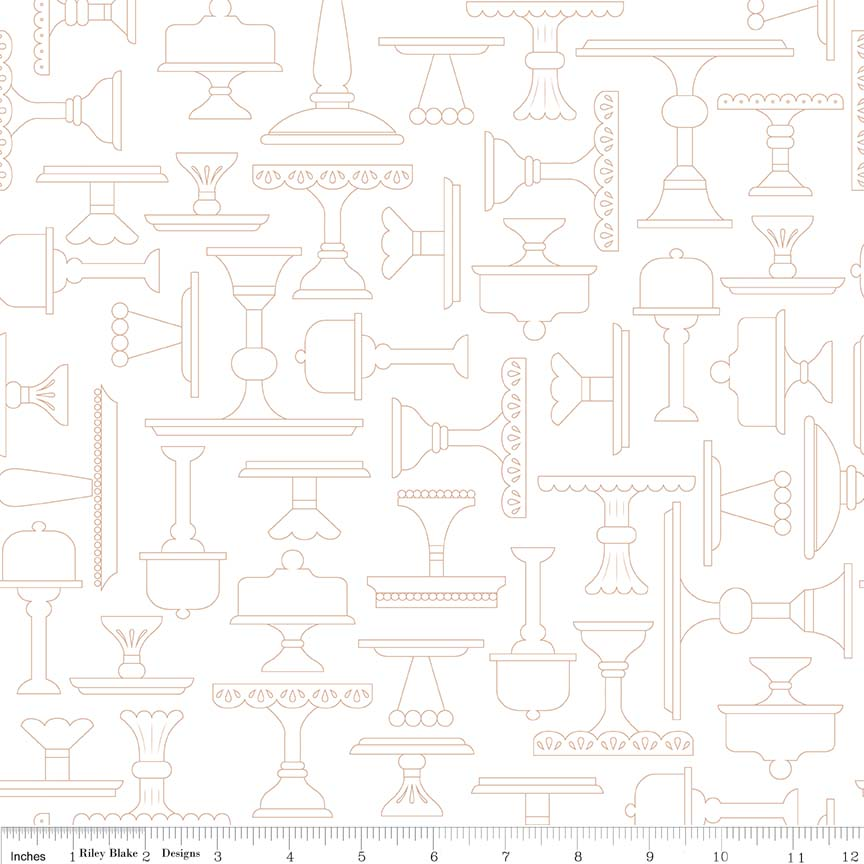 White Plate Lets Bake Quilt Background Fabric Lori Holt