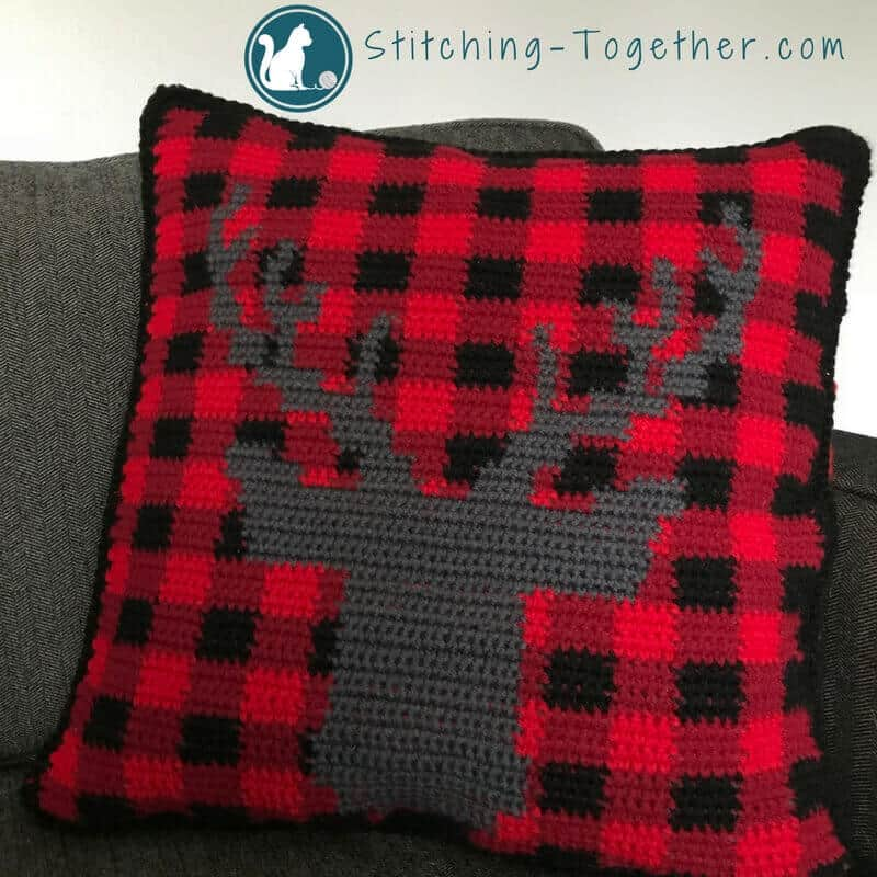 Buffalo Check Crochet Pillow Cover Stitching Together