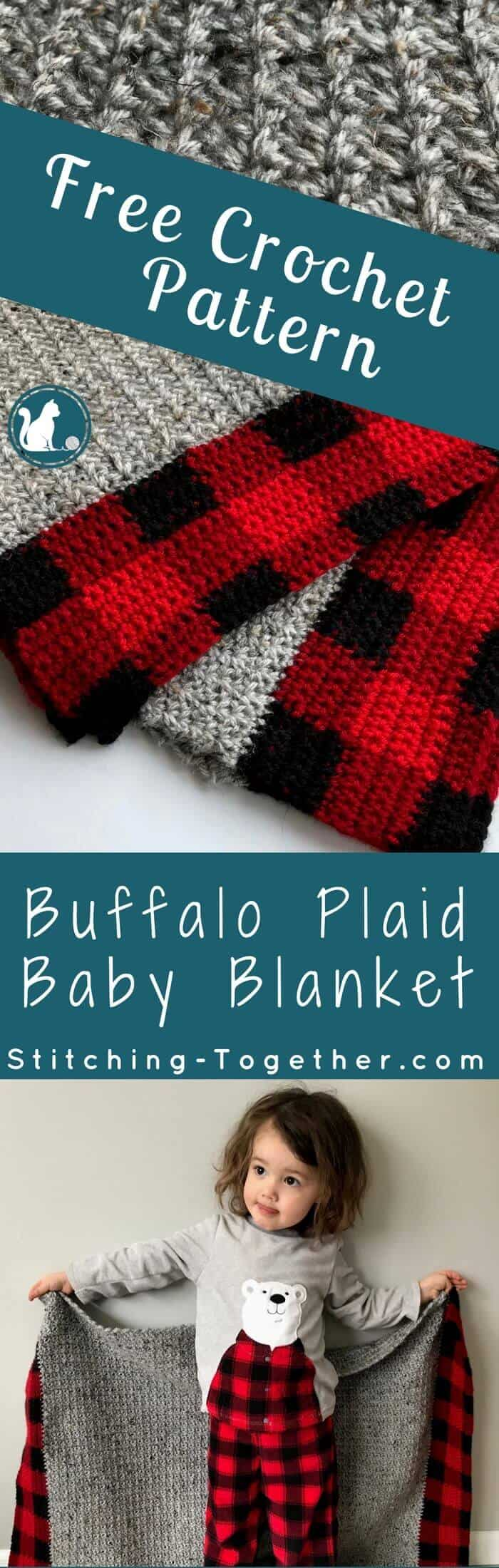 I am in love with this Buffalo Plaid Baby Blanket! What a perfect gift for the trendiest baby. I can't get over the texture of those beautiful stitches. With this free crochet pattern I can make the perfect baby show gift! | Crochet Baby Blanket