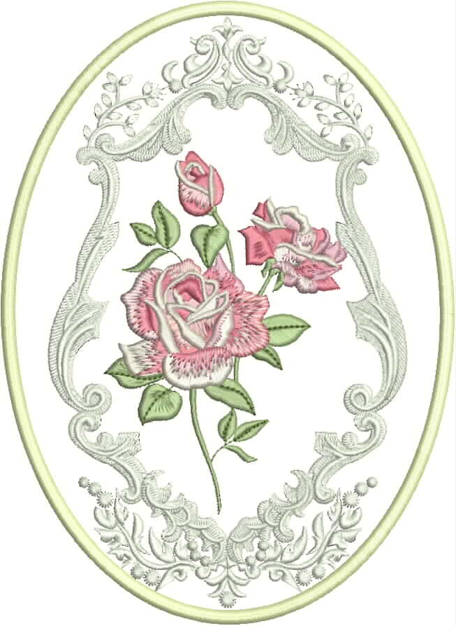 the roses machine embroidery