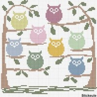 free owl cross stitch pattern