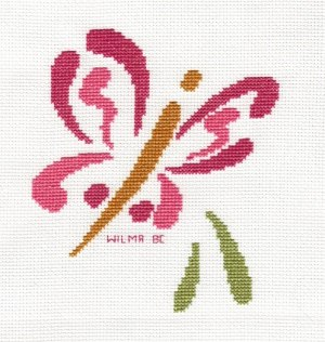 Brushstroke Butterfly Cross Stitched by WilhelminaB