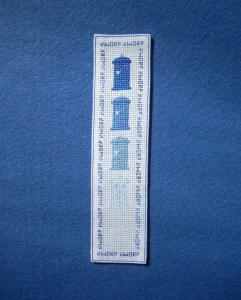 disappearing TARDIS cross stitch bookmark