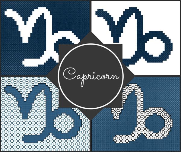 Capricorn Zodiac Blocks for Cross Stitch and Blackwork