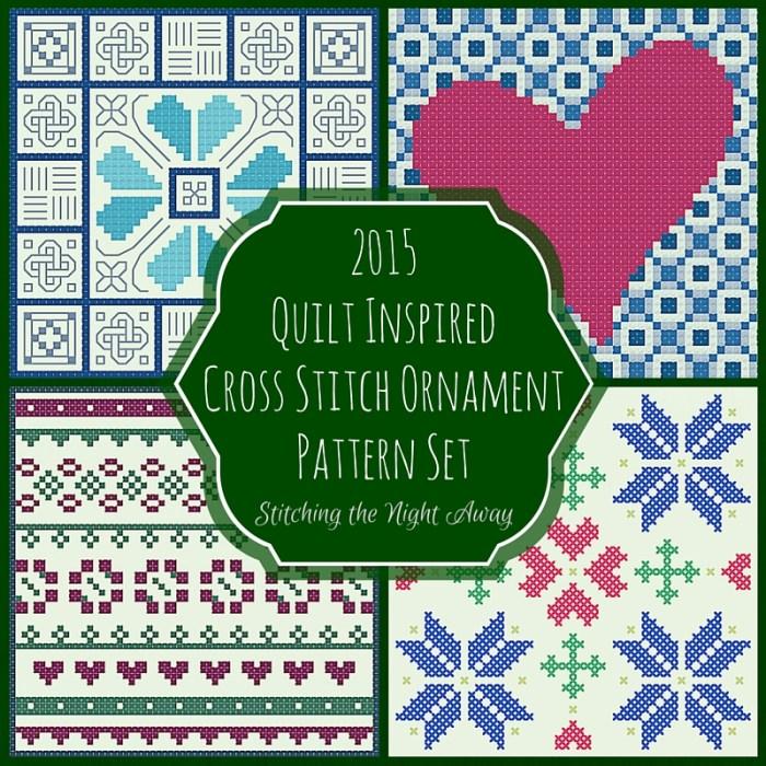 Quilt Inspired Cross Stitch Ornament Pattern Set (4 patterns)