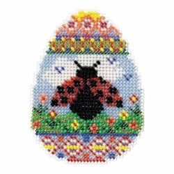 ladybug spring egg cross stitch bead kit from mill hill