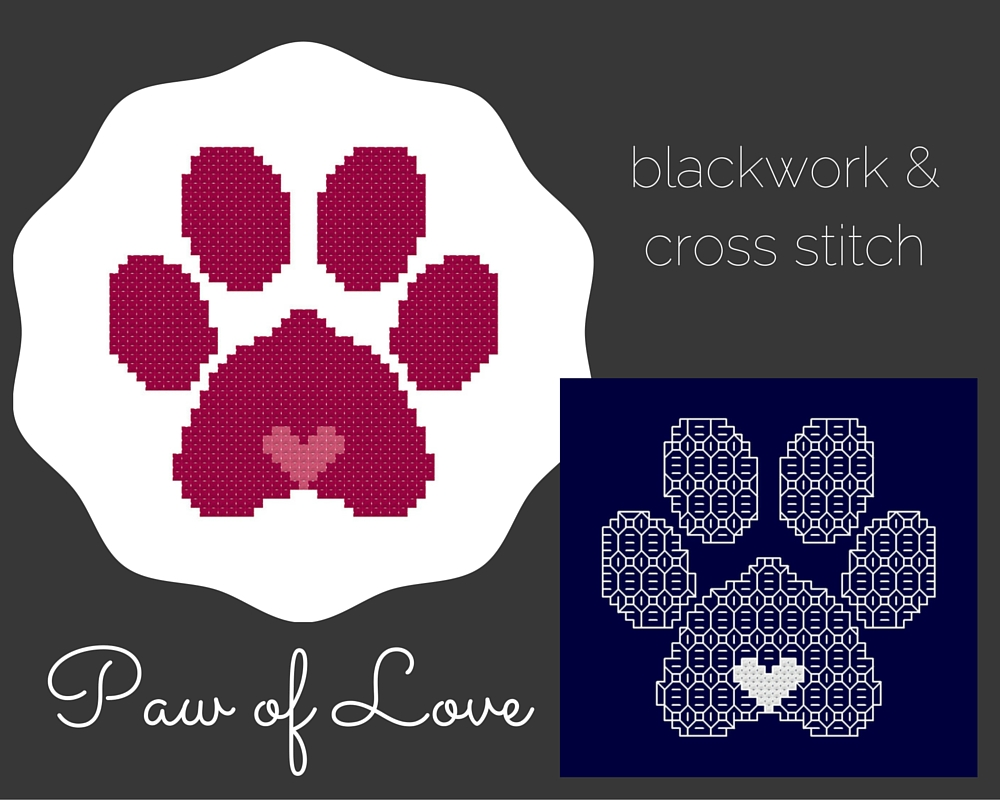 Paw of Love Cross Stitch and Blackwork Patterns