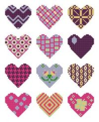 quilted hearts cross stitch pattern set without borders preview