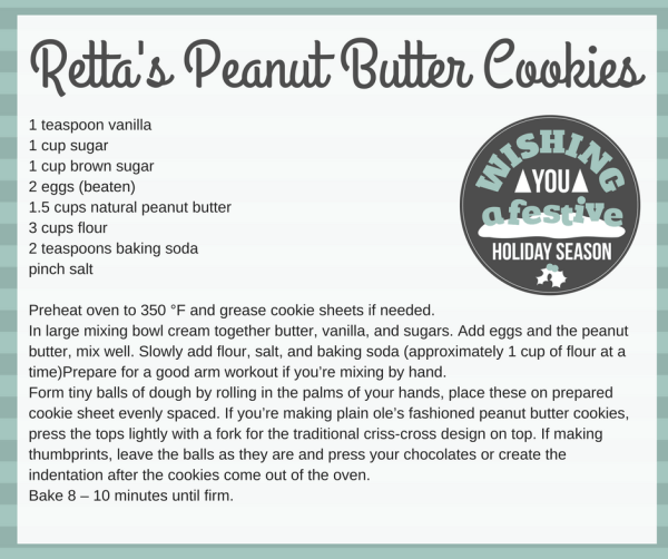 printable recipe card for peanut butter cookie recipe