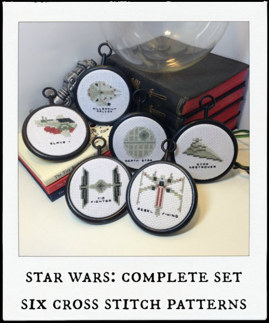six tiny sapce ships star wars cross stitch