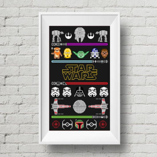 Star Wars Trilogy Cross Stitch Sampler Pattern