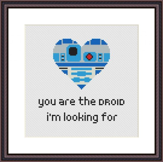 Star Wars heart shaped R2D2 cross stitch pattern - You are the droid I'm looking for