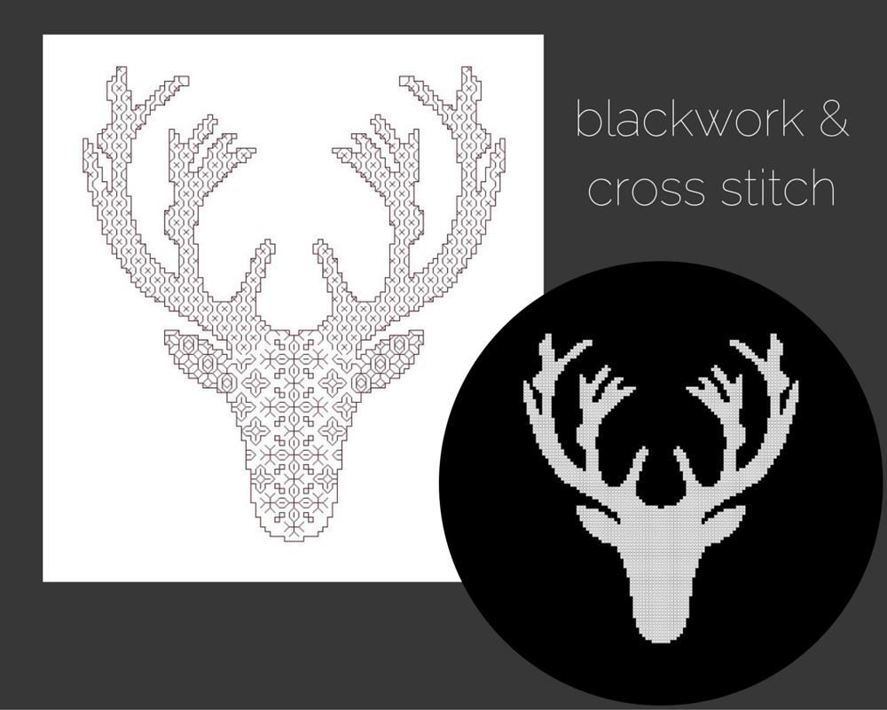 deer head cross stitch and blackwork patterns